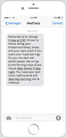 wedding text messages - iphone - wedding rehearsal reminder