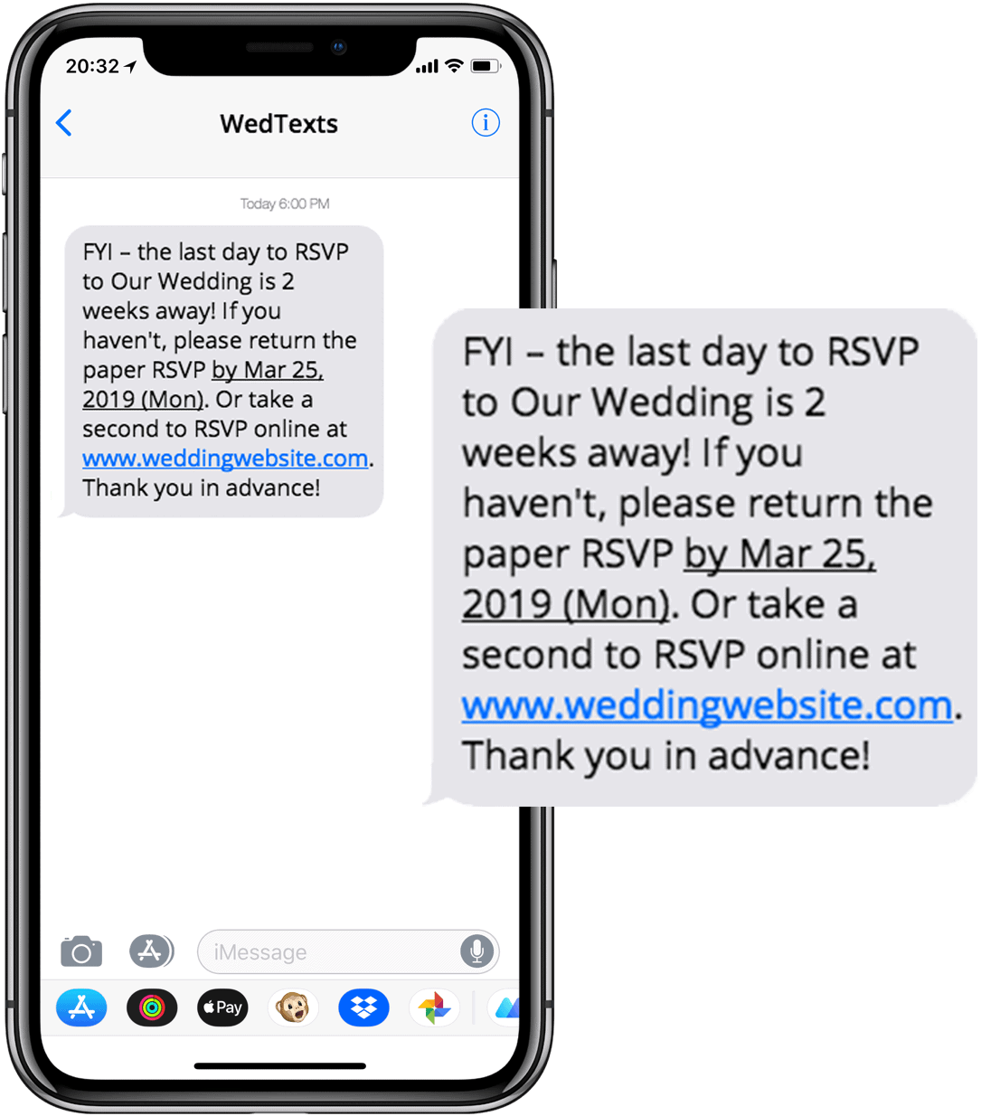 wedding text messages - iphone - wedding rsvp reminder